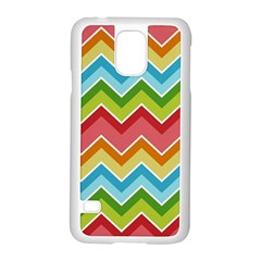 Colorful Background Of Chevrons Zigzag Pattern Samsung Galaxy S5 Case (White) by Simbadda