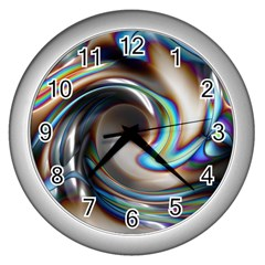 Twirl Liquid Crystal Wall Clocks (silver)  by Simbadda