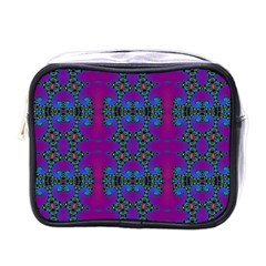 Purple Seamless Pattern Digital Computer Graphic Fractal Wallpaper Mini Toiletries Bags by Simbadda