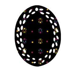 Abstract A Colorful Modern Illustration Black Background Ornament (oval Filigree) by Simbadda