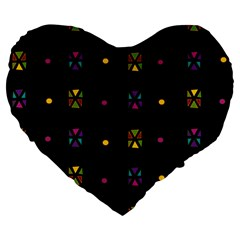 Abstract A Colorful Modern Illustration Black Background Large 19  Premium Flano Heart Shape Cushions by Simbadda
