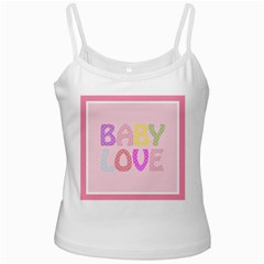Pink Baby Love Text In Colorful Polka Dots Ladies Camisoles by Simbadda