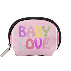 Pink Baby Love Text In Colorful Polka Dots Accessory Pouches (small)  by Simbadda