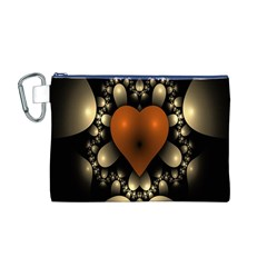 Fractal Of A Red Heart Surrounded By Beige Ball Canvas Cosmetic Bag (M) by Simbadda