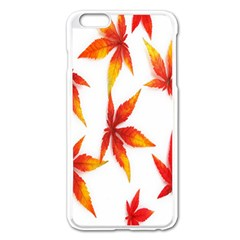 Colorful Autumn Leaves On White Background Apple Iphone 6 Plus/6s Plus Enamel White Case by Simbadda