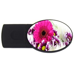 Pink Purple And White Flower Bouquet Usb Flash Drive Oval (2 Gb)