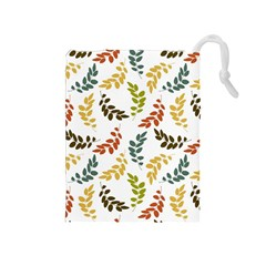 Colorful Leaves Seamless Wallpaper Pattern Background Drawstring Pouches (Medium)  by Simbadda