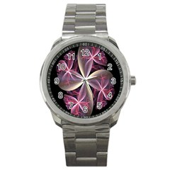 Pink And Cream Fractal Image Of Flower With Kisses Sport Metal Watch