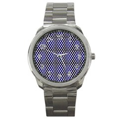 Squares Blue Background Sport Metal Watch