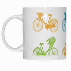 Vintage Bikes With Basket Of Flowers Colorful Wallpaper Background Illustration White Mugs by Simbadda