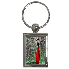 Red Peacock Key Chains (rectangle)  by Simbadda
