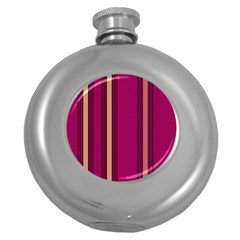 Stripes Background Wallpaper In Purple Maroon And Gold Round Hip Flask (5 Oz) by Simbadda