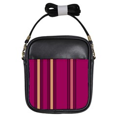 Stripes Background Wallpaper In Purple Maroon And Gold Girls Sling Bags by Simbadda