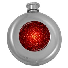 Abstract Red Lava Effect Round Hip Flask (5 Oz) by Simbadda