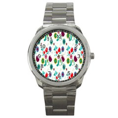 Lindas Flores Colorful Flower Pattern Sport Metal Watch