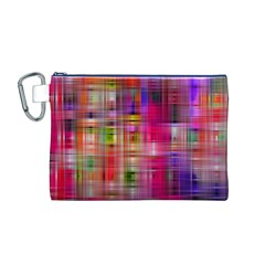 Background Abstract Weave Of Tightly Woven Colors Canvas Cosmetic Bag (M) by Simbadda