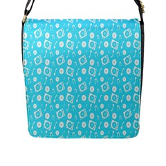 Record Blue Dj Music Note Club Flap Messenger Bag (l)  by Mariart