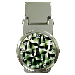 Green Black And White Abstract Background Of Squares Money Clip Watches