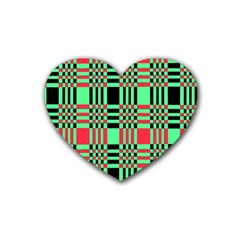 Bright Christmas Abstract Background Christmas Colors Of Red Green And Black Make Up This Abstract Heart Coaster (4 Pack)  by Simbadda