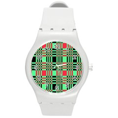 Bright Christmas Abstract Background Christmas Colors Of Red Green And Black Make Up This Abstract Round Plastic Sport Watch (m)