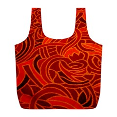 Orange Abstract Background Full Print Recycle Bags (l)  by Simbadda