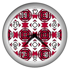 Seamless Abstract Pattern With Red Elements Background Wall Clocks (silver)  by Simbadda