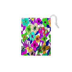 Floral Colorful Background Of Hand Drawn Flowers Drawstring Pouches (xs)  by Simbadda