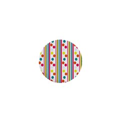Stripes And Polka Dots Colorful Pattern Wallpaper Background 1  Mini Buttons