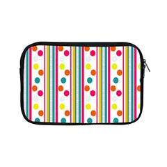 Stripes And Polka Dots Colorful Pattern Wallpaper Background Apple Ipad Mini Zipper Cases by Nexatart