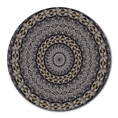 Celestial Pinwheel Of Pattern Texture And Abstract Shapes N Brown Round Mousepads by Nexatart