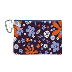 Bright Colorful Busy Large Retro Floral Flowers Pattern Wallpaper Background Canvas Cosmetic Bag (M) by Nexatart