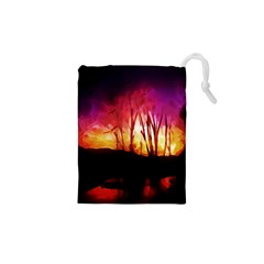 Fall Forest Background Drawstring Pouches (xs)  by Nexatart