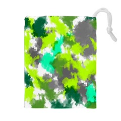 Abstract Watercolor Background Wallpaper Of Watercolor Splashes Green Hues Drawstring Pouches (extra Large) by Nexatart