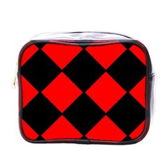 Red Black Square Pattern Mini Toiletries Bags by Nexatart