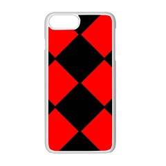 Red Black square Pattern Apple iPhone 7 Plus White Seamless Case by Nexatart