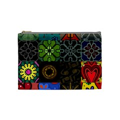 Digitally Created Abstract Patchwork Collage Pattern Cosmetic Bag (medium)  by Nexatart