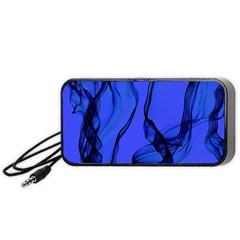 Blue Velvet Ribbon Background Portable Speaker (black)