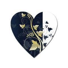 Tree Leaf Flower Circle White Blue Heart Magnet