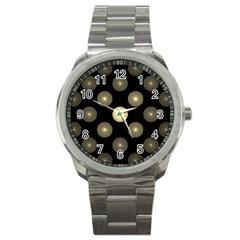 Gray Balls On Black Background Sport Metal Watch