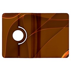 Brown Background Waves Abstract Brown Ribbon Swirling Shapes Kindle Fire HDX Flip 360 Case by Nexatart