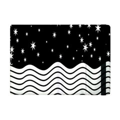 Black And White Waves And Stars Abstract Backdrop Clipart Ipad Mini 2 Flip Cases by Nexatart