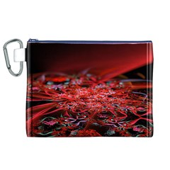 Red Fractal Valley In 3d Glass Frame Canvas Cosmetic Bag (xl) by Nexatart