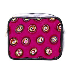 Digitally Painted Abstract Polka Dot Swirls On A Pink Background Mini Toiletries Bags by Nexatart
