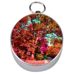 Abstract Fall Trees Saturated With Orange Pink And Turquoise Silver Compasses by Nexatart