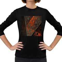 Abstract Lighted Wallpaper Of A Metal Starburst Grid With Orange Back Lighting Women s Long Sleeve Dark T Shirts