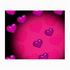 Pink Hearth Background Wallpaper Texture Small Glasses Cloth (2 Side)