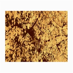 Abstract Brachiate Structure Yellow And Black Dendritic Pattern Small Glasses Cloth (2 Side) by Nexatart