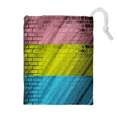 Brickwall Drawstring Pouches (extra Large) by Nexatart