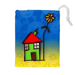 Colorful Illustration Of A Doodle House Drawstring Pouches (extra Large) by Nexatart