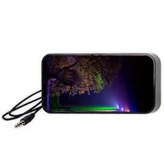 Illuminated Trees At Night Portable Speaker (black)